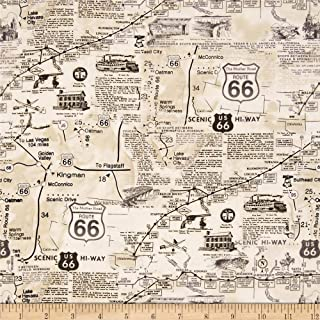 Timeless Treasures Route 66 Natural, Quilting Fabric by the Yard