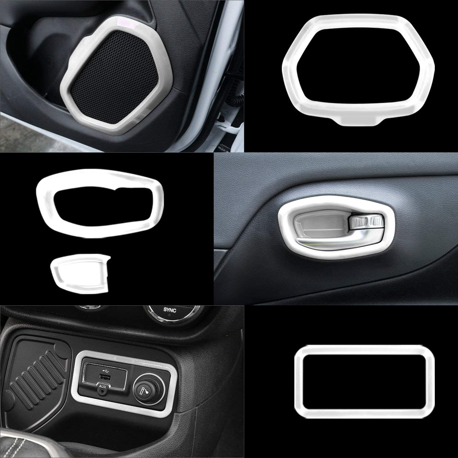 Blue Danti 36 Pcs Car Interior Accessories Decoration Cover Air Conditioning Vent /& Door Speaker /& Water Cup Holder /& Headlight Switch /& Window Lift Button Covers fit for Jeep Renegade 2015-2020