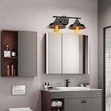 Farmhouse Rustic Style Vintage 2-Lights Vanity Wall Sconce Lighting, Elibbren E26 Base Metal Matte Black Industrial Bathroom