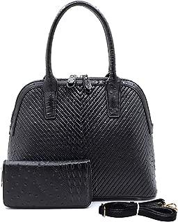 Handbag Republic Ostrich Embossed Dome Tote w/Strap + Wallet- BLACK
