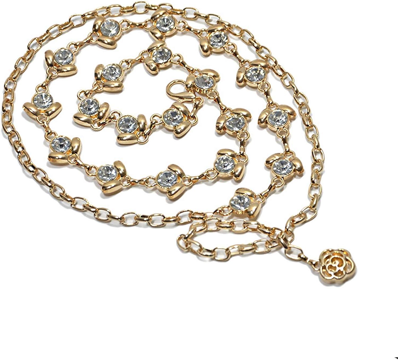 Rhinestone Chain Belt Elegant Crystal Waist Belts Flower Shape Metal Belt for Women Girls Jewelry Dress Gift