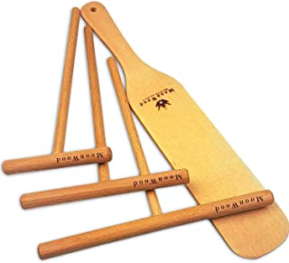 moonwood Crepes distributör – Crepes vändare – 4 stycken trä (18 tum, 13 tum, 9 tumSprivare och 30 cm långt träspjäll för ...