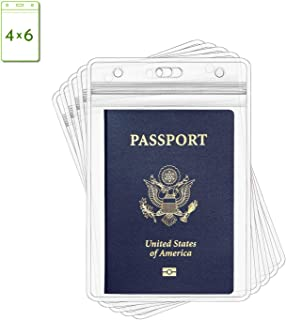 Claev Vertical 4x6 Passport Holders (4x6 Extra Large (XXL), 50 Pack), Clear Waterproof Plastic ID Badge Holders for Travel, Conferences, Conventions
