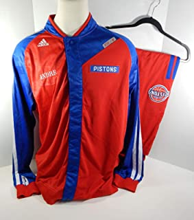 6b8a866089ae Detroit Pistons Andre Drummond  0 Game Used Red Warm Up Jacket Pants - NBA  Game