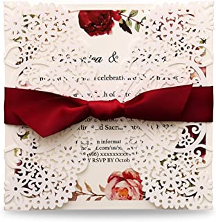 Dream Bulit Square Wedding Invitations Cards Fall Bridal, Baby Shower, Birthday Invitation Rehearsal Dinner Invites, Autumn Engagement with Wine Red Cardinal Red Bowknot Hollow,50pc W0003R