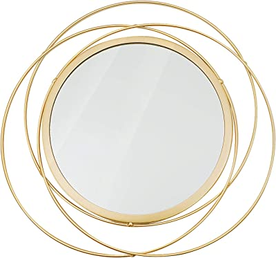 Wall Hanging Mirror,Hand-Woven Rattan Wall Hanging Mirror European Style Willow Circle Durable Home Decortion Mirror for Home Corridors Lounges Offices Decoration