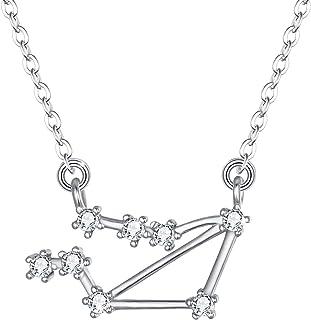 Clearine Femme Boucles d/'Oreilles 12 Constellations Signes du Zodiaque 925 Argent Zircon Signifiatif Parure Bijoux Horoscope Astrologie