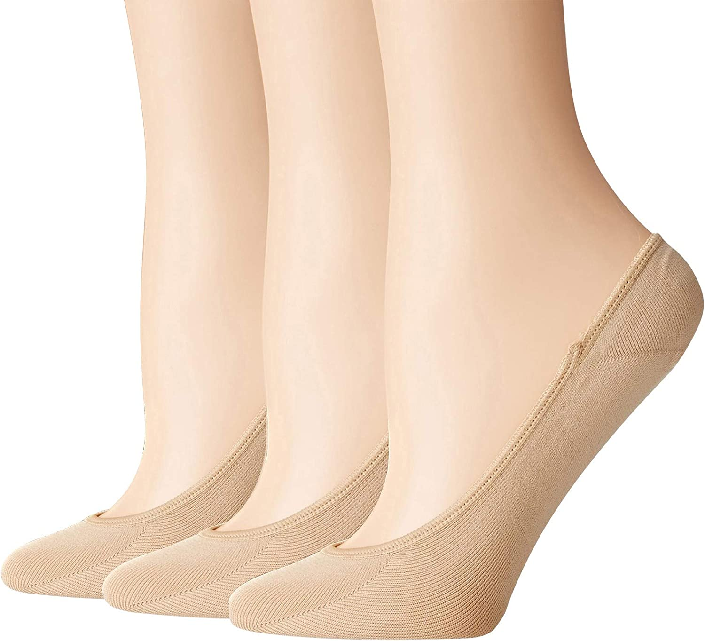 3 Pairs No Show Socks Women Nylon Ultra Low Cut Non-Slip Thin Liner Socks Invisible Hidden Socks for Flats (Beige)