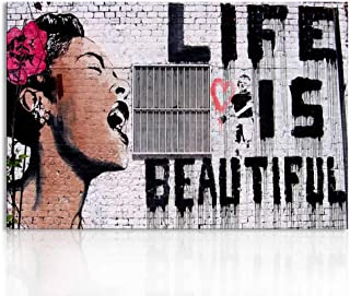 Wall Art Banksy Life is Beautiful Modern Gallery Wrapped Giclee Canvas Prints Artwork Grey Love Abstract Pictures Paintings on Canvas Wall Art Ready to Hang for Bedroom Home Office Decorations 16
