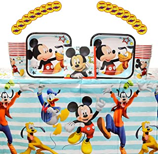 Mickey On the Go Supplies Pack for 16 Guests: Stickers, Dessert Plates, Beverage Napkins, Table Cover, and Cups