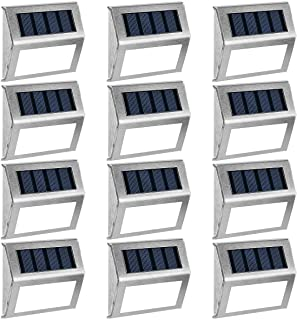 GIGALUMI 12 Pack Solar Deck Lights,3 LED Solar Stair Lights,Outdoor LED Step Lighting Stainless Steel Waterproof Led Solar...