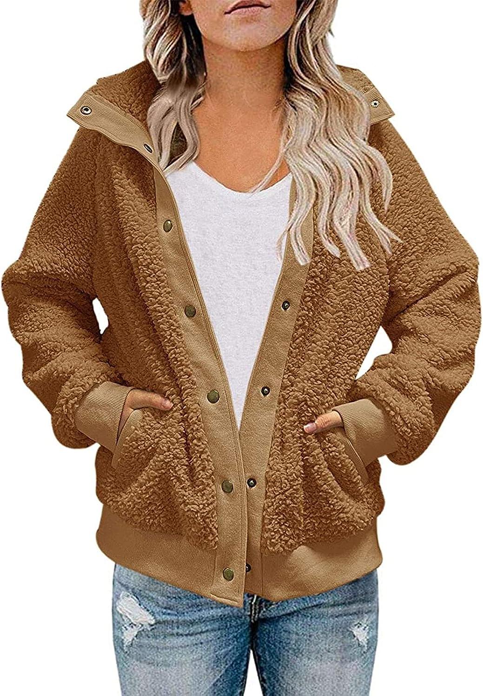 Padasso Womens Faux Fur Jackets Long Sleeve Fleece Lapel Warm Button Coats Outwear Casual Shaggy Jackets with Pockets