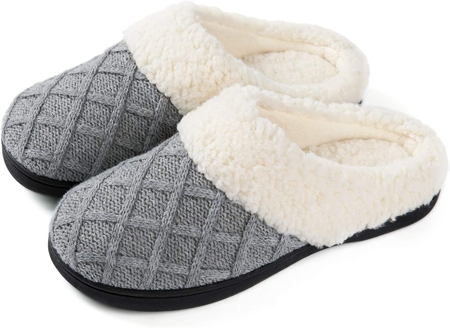 ULTRAIDEAS Women's Cozy Memory Foam Knit Slippers, Ladies' Mules House Shoes with Indoor Outdoor Rubber Sole