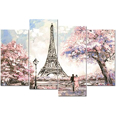 Visual Art Decor Large Pink Painting Of Blossoming Paris Street Eiffel Tower Ronmance Lovers Canvas Prints Wall Art Decoration For Home Office Hotel Guest Room Ready To Hang Xlarge Posters