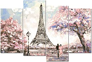 Visual Art Decor Large Pink Painting of Blossoming Paris Street Eiffel Tower Ronmance Lovers Canvas Prints Wall Art Decora...