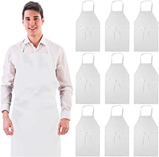 Wealuxe 12-Pack Professional Bib Aprons | No Pocket | 32x28 Inch | White | Set of 12