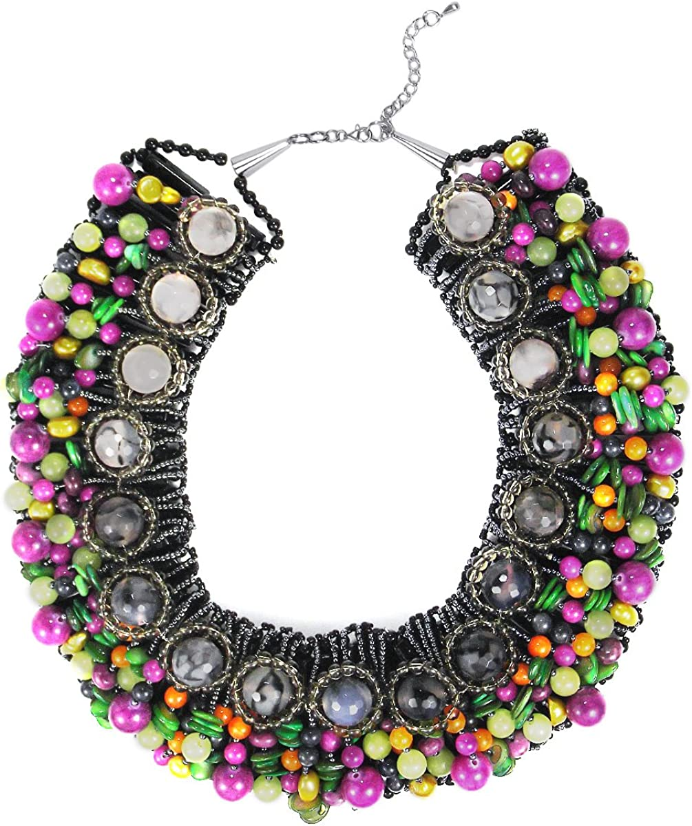 AeraVida Cascading Color Mixed Stone & Mother of Pearl & Cultured Freshwater Yellow Pearl Collar Necklace