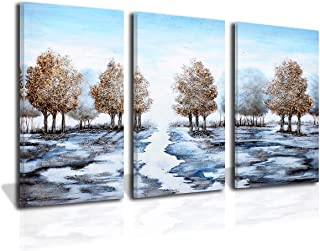 ND Art 3 Panels 100% Hand Painted Oil Paintings On Canvas Tree and Sky Modern Abstract Wall Art Forest Landscape Artwork Stretched and Framed Ready to Hang for Living Room Bedroom Office