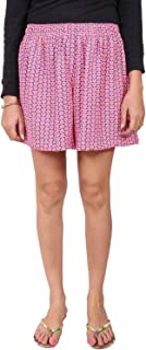 Champa Women's Pink Printed Night Wear Shorts with Contrast