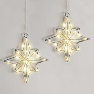 LampLust Hanging Star Window Lights - Battery Operated Pre-Lit Stars, Silver with Warm White LEDs, 8 Inch Tall, Timer Opti...