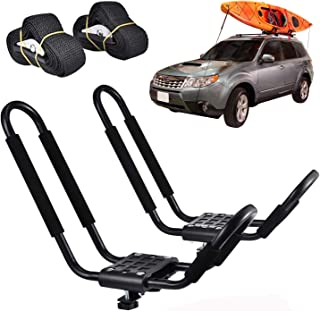 AfterMokit Kayak Racks with 5.3x15 inch Foam Upper Arm for Roof Rack Crossbar SUP Car Racks J Bar Rooftop Racks with 0.77 inch Steel Tube Black 1 Pair