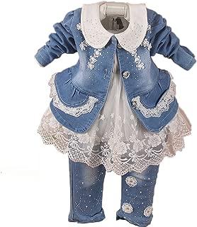 Baby Girls 3 Pieces Denim Clothing Set Lace Dress Floral Denim Jacket and Jeans