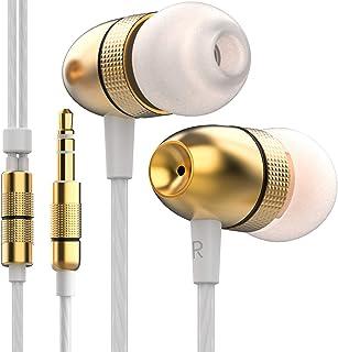Betron ELR50 Bullerisolerande hörlurar, hörlurar i örat med bärfodral, förbättrat basljud med 3 olika storlekar, guld