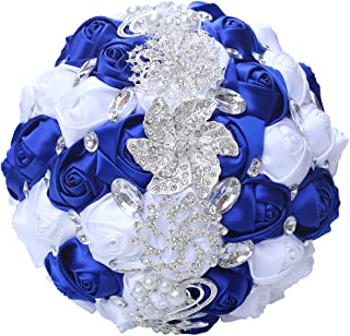 WJYIKEE Broche romántico Hecho a Mano para Ramo de Novia, Ramo de Novia o Dama de Honor, Ramo de Flores de Seda con decoración de Diamantes de imitación
