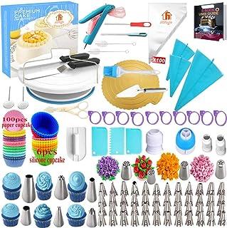 comprar comparacion Torta Giratoria, Platos para Tarta, 301 Piezas Decoración de Pasteles Kit, Boquillas, Manga Pastelera, Espátula de Formaci...