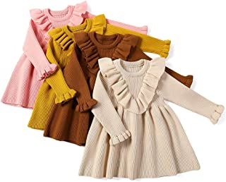 Curipeer Little Girls' Long Sleeve Cozy Casual Ribbed Knit Sweater Dress