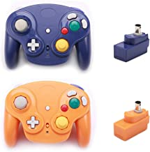 $48 » Poulep Classic Wireless Controller Gamepad with Receiver Adapter, Compatible with for Wii Gamecube NGC GC(Purple and Orange)