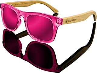 Kids Polarized Sunglasses for Boys and Girls with Recycled Frames and Beech Wood Arms   4 to 8 years