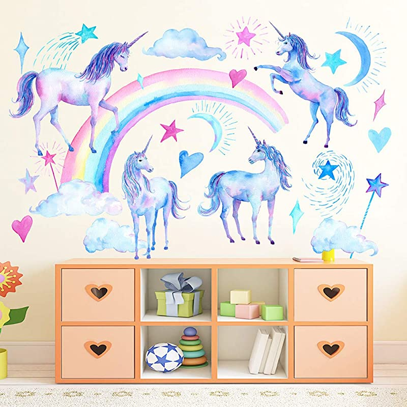 SELIEM Unicorn Wall Decals Peel And Stick Unicorn Rainbow Vinyl Wall Stickers Removable Decals For Girls Bedroom Kids Room Nursery Unicorn Wall Art Home Decorations Party Supplies
