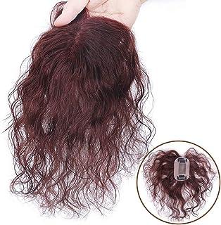 YESONEEP 女性のためのダークブラウンショートカーリーヘアフルハンド織り本物の髪見えないかつらパーティーかつら (Color : Natural black, サイズ : 15cm)