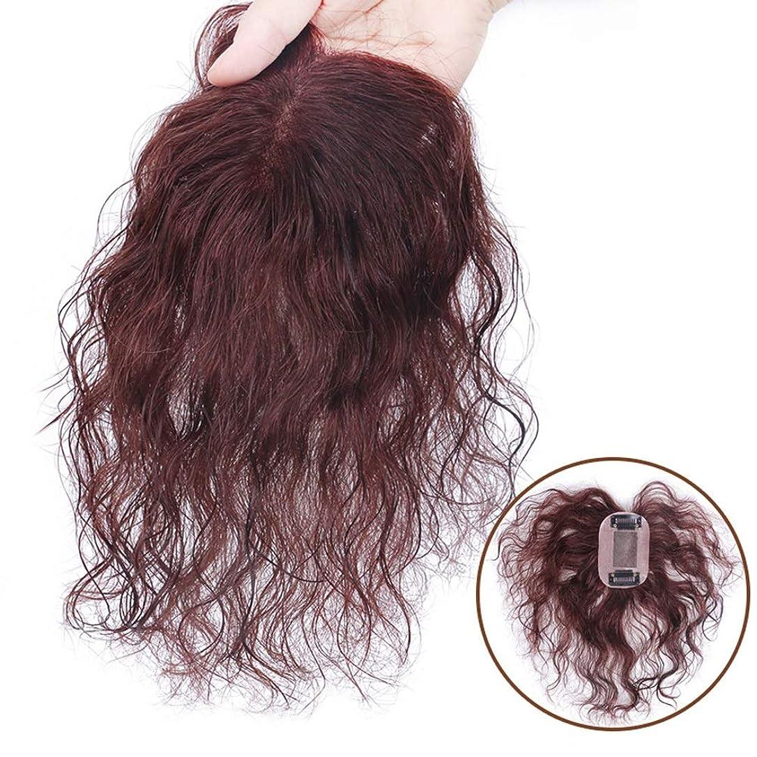 設計図アーチ外側BOBIDYEE 女性のためのダークブラウンショートカーリーヘアフルハンド織り本物の髪見えないかつらパーティーかつら (色 : Natural black, サイズ : 15cm)