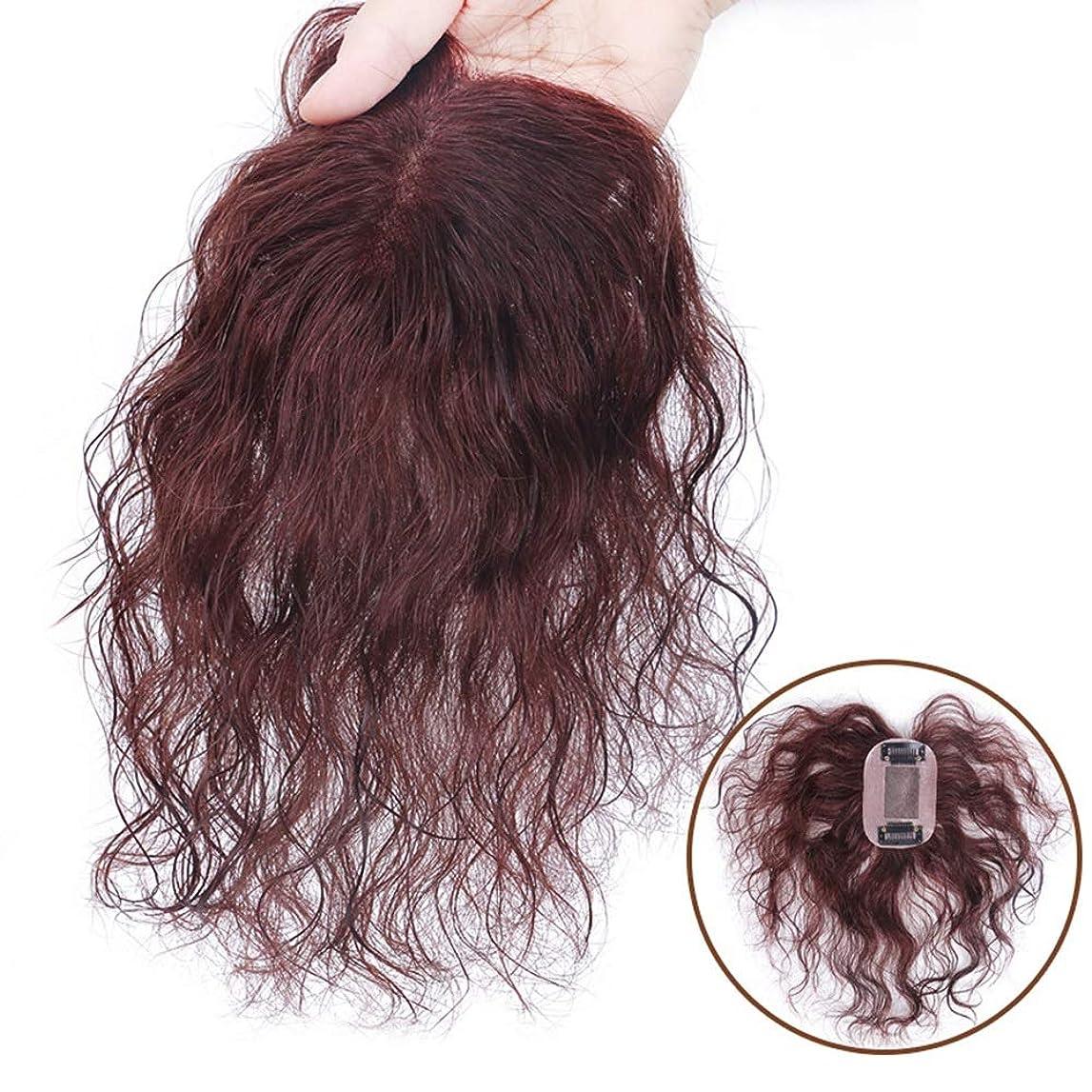熱心なモジュール基礎BOBIDYEE 女性のためのダークブラウンショートカーリーヘアフルハンド織り本物の髪見えないかつらパーティーかつら (色 : Natural black, サイズ : 15cm)