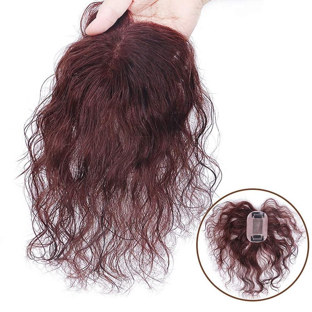 暴徒水分ホテルYrattary 女性のためのダークブラウンショートカーリーヘアフルハンド織り本物の髪見えないかつらパーティーかつら (Color : Dark brown, サイズ : 15cm)