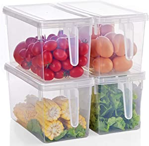 Yesland 4 Pack 5.5 L Refrigerator Food Storage Organizer, Large Stackable Plastic Storage Containers with Handle, Square Food Produce Saver/Bins with Lids for Fruits Vegetables Meat Egg Pasta