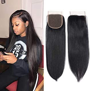 100% Unprocessed Human Hair Closure Top Closure Brazilian Straight Lace Closure Human Hair Free Part (14inch)