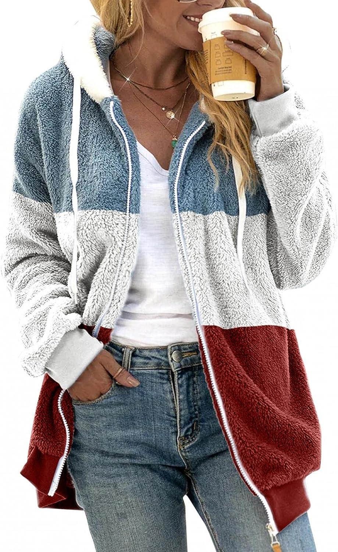 Misaky Women's Hooded Jacket Pullover Sweatershirt Warm Faux Wool Pockets Coat Outwear Stitching Pocket