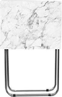 Home Basics Multi-Purpose Sturdy and Durable Decorative Bedside Laptop Snack Cocktails TV Folding Table Tray Desk Bedside Laptop Snacks White Marble
