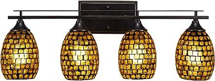 Tubia Lighting 134-DG-409 アップタウン - 4ライトバスバー ダークグラナイト仕上げ 銅モザイクガラス