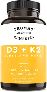 Thomas' all-natural Remedies D3 + K2 with MCT Oil for Better Absorption - 1000 IU D3 - Vegan - Made in USA - Support for Y...