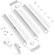 EShine White Finish 3 12 inch Panels LED Dimmable Under Cabinet Lighting Kit, Hand Wave Activated - Touchless Dimming Control, Warm White (3000K)