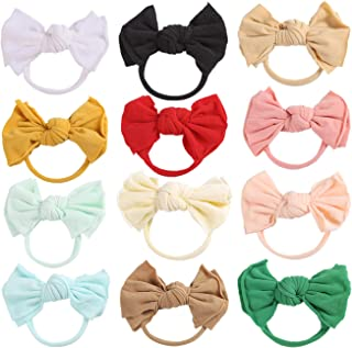12pcs Big Bows Baby Nylon Headbands Hairbands Hair Bows Elastics for Baby Girls Newborn Infant Toddler Child Hair Accessories