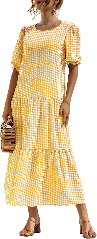 Women's Summer Boho Dress Floral Print Ruffle Puff Sleeve Polka Dot Plaid High Waist Maxi Dresses