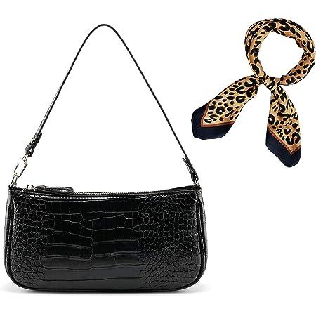 CHIC DIARY Damen Unterarm Tasche Schwarz Schultertasche Vintage Crocodile PU Achseltasche + Leopard Muster Taschentuch