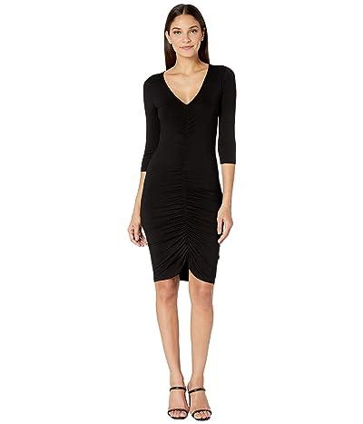BB Dakota Rouched Mood Rayon Spandex Knit Dress (Black) Women