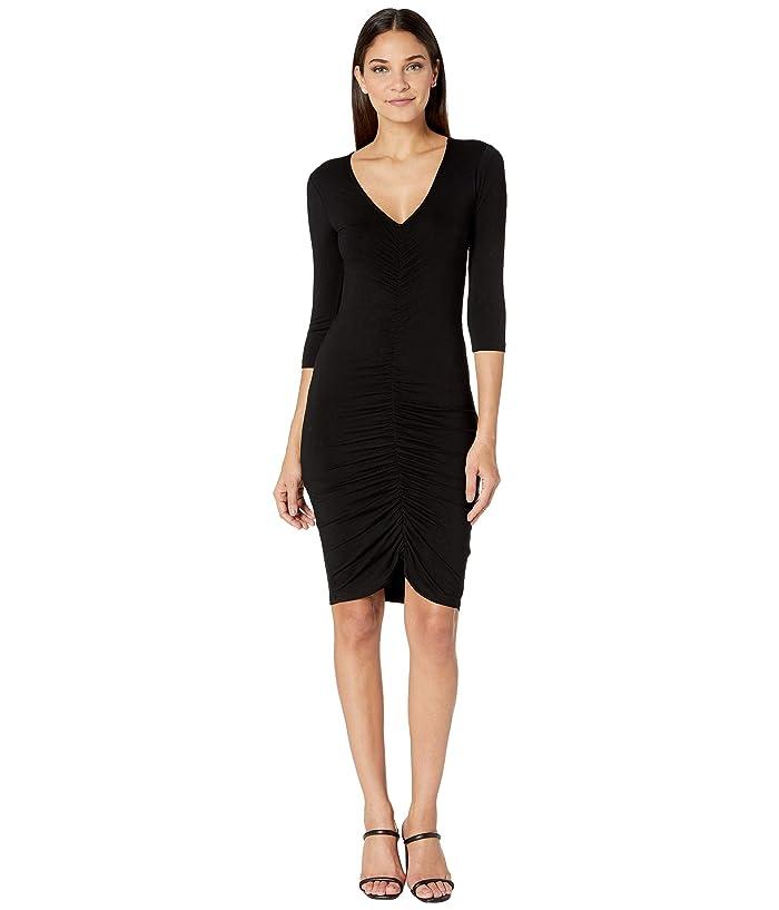 BB Dakota  Rouched Mood Rayon Spandex Knit Dress (Black) Womens Dress