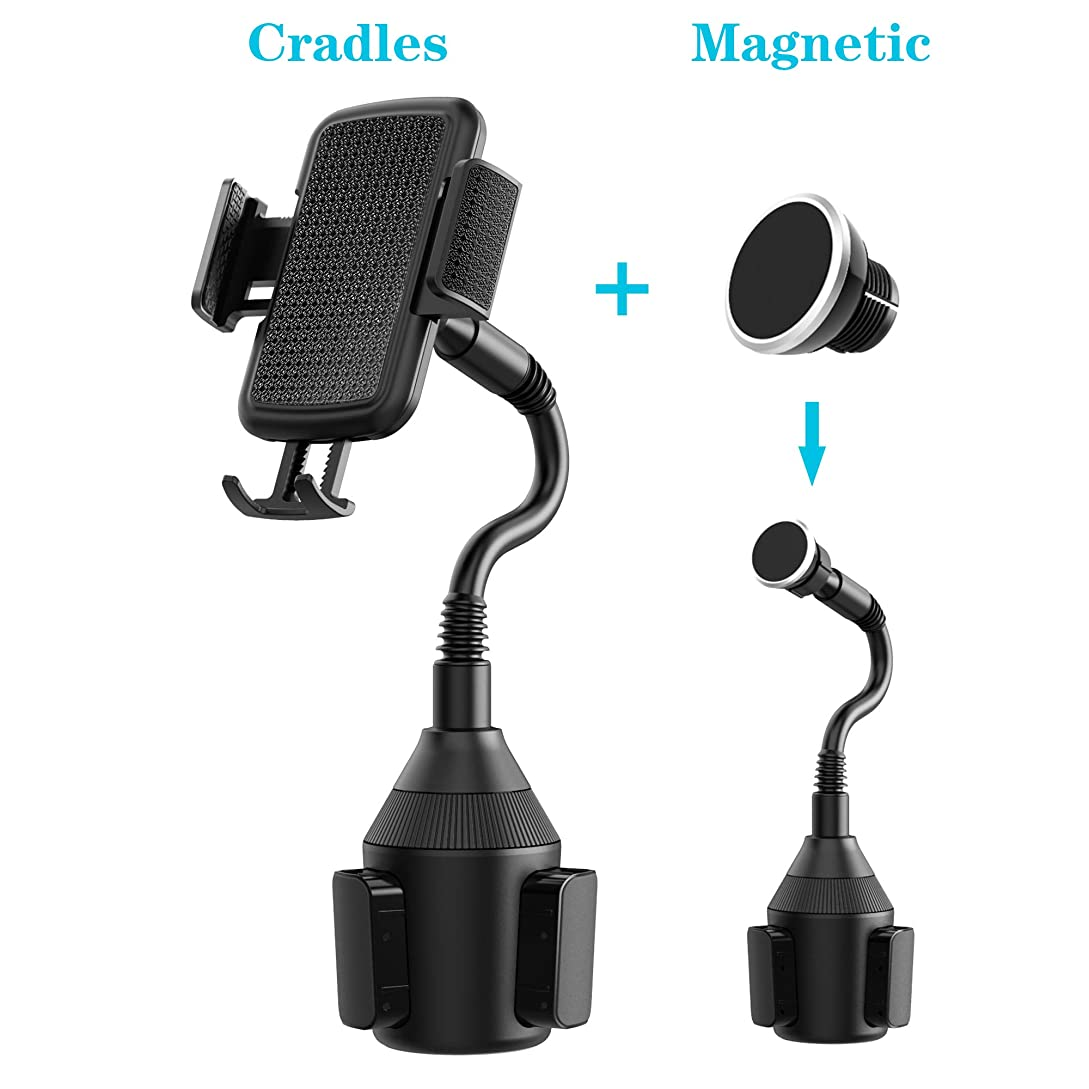 VABSCE Cup Holder Phone Mount, Universal Adjustable Gooseneck Cup Holder Cradle Car Phone Magnetic Mount Compatible with iPhone Xs Xs Max X 8 7 Samsung Galaxy S9 S8 S7 Note8 Note9 Huawei HTC LG nj0642655